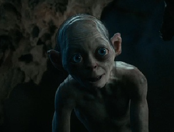 "from the film ""The Hobbit: An Unexpected Adventure"" - Gollum in one of his more friendly appearances"