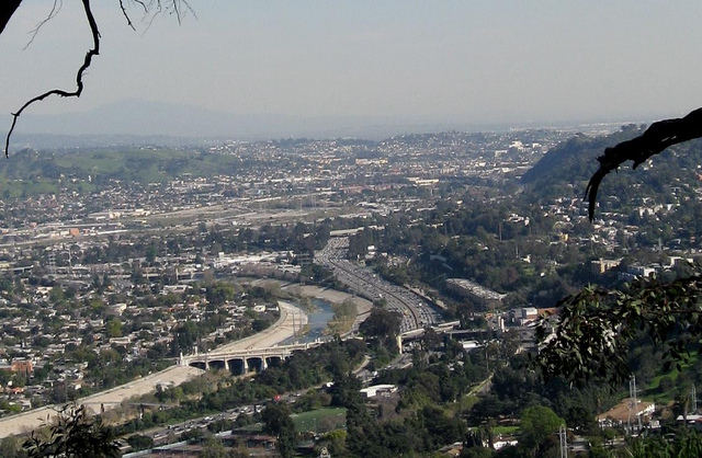 Los Angeles River winds near east side of Griffith Park in Southern California - photo by DB's travels