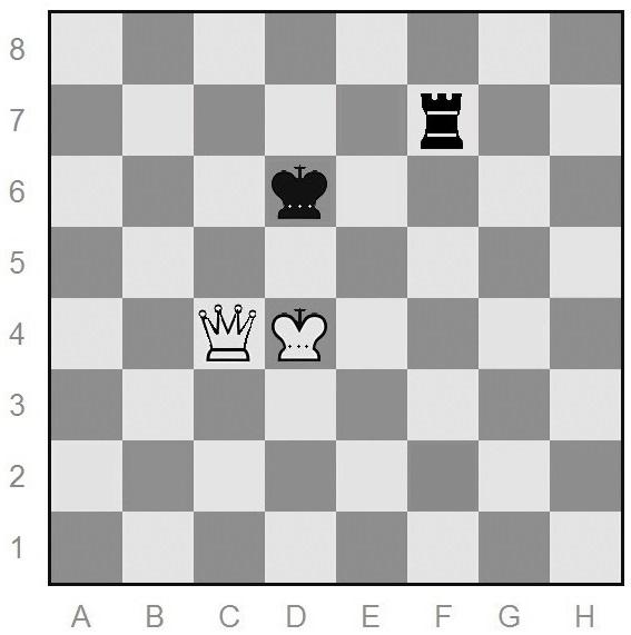 queen versus rook - black to move