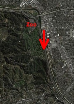 satellite map showing where three dragons were reported to have flown over a freeway in Los Angeles on March 3, 2013